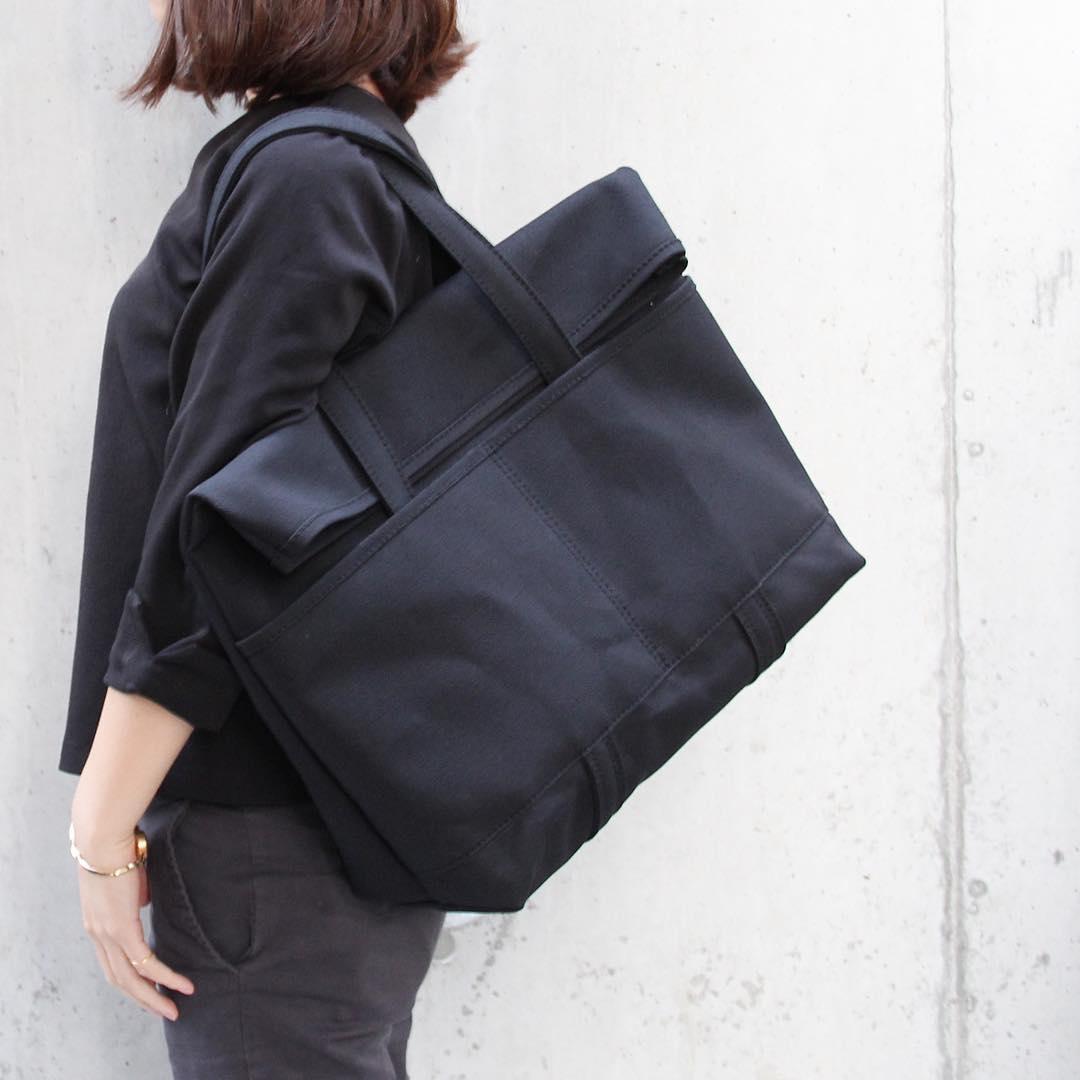 折りたたみトートバック(ブラック)倉敷帆布